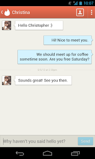 Tinder for Android Message Screenshot