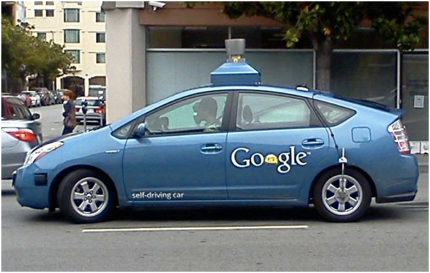 The New Self-Driving Car from Google on the street
