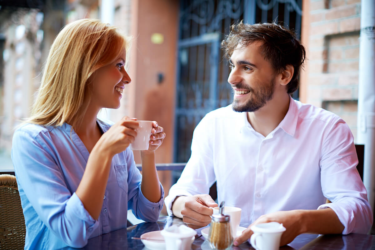 good pick up lines man and woman having coffee happy
